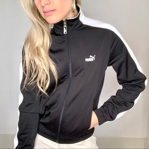 Puma Black and White Zip Up Track Jacket Small